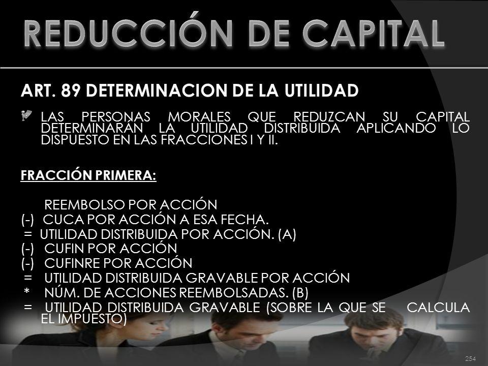ART. 89 DETERMINACION DE LA UTILIDAD LAS PERSONAS MORALES QUE REDUZCAN SU CAPITAL DETERMINARÁN LA UTILIDAD DISTRIBUIDA APLICANDO LO DISPUESTO EN LAS F