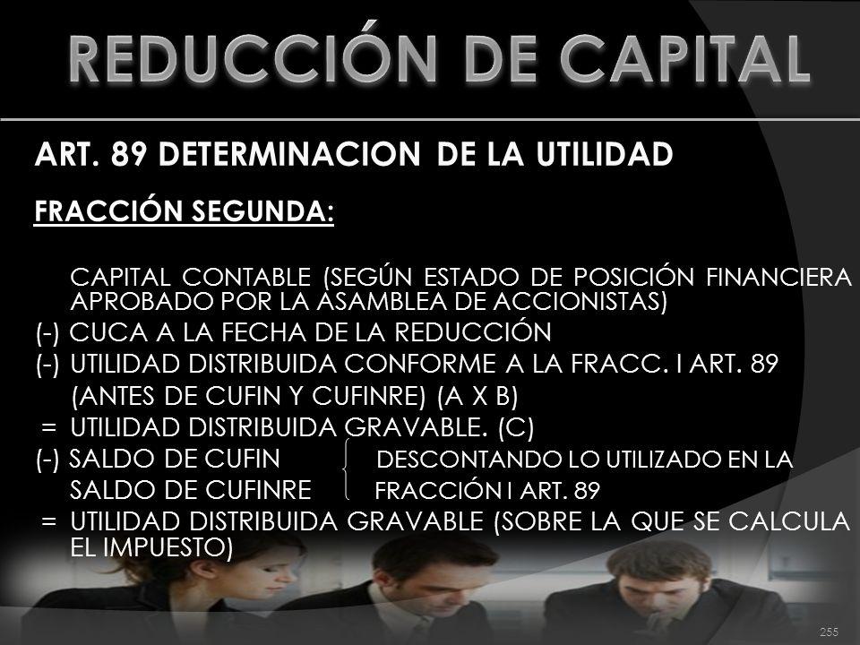 ART. 89 DETERMINACION DE LA UTILIDAD FRACCIÓN SEGUNDA: CAPITAL CONTABLE (SEGÚN ESTADO DE POSICIÓN FINANCIERA APROBADO POR LA ASAMBLEA DE ACCIONISTAS)