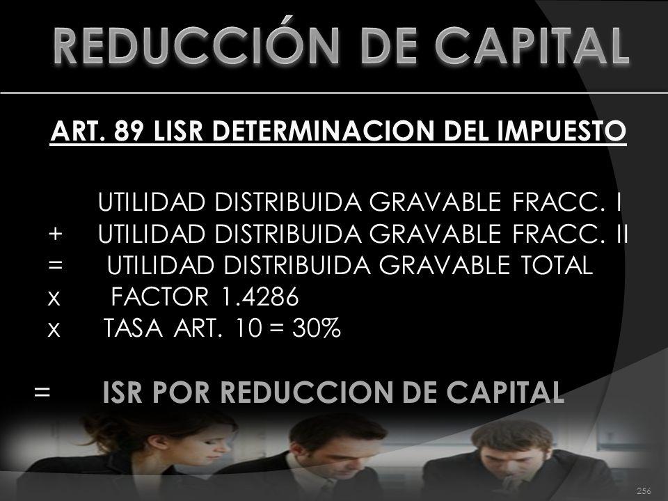 ART. 89 LISR DETERMINACION DEL IMPUESTO UTILIDAD DISTRIBUIDA GRAVABLE FRACC. I +UTILIDAD DISTRIBUIDA GRAVABLE FRACC. II = UTILIDAD DISTRIBUIDA GRAVABL