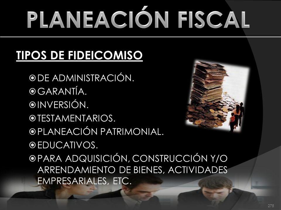 TIPOS DE FIDEICOMISO DE ADMINISTRACIÓN. GARANTÍA. INVERSIÓN. TESTAMENTARIOS. PLANEACIÓN PATRIMONIAL. EDUCATIVOS. PARA ADQUISICIÓN, CONSTRUCCIÓN Y/O AR