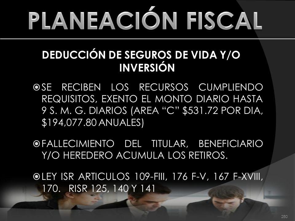 DEDUCCIÓN DE SEGUROS DE VIDA Y/O INVERSIÓN SE RECIBEN LOS RECURSOS CUMPLIENDO REQUISITOS, EXENTO EL MONTO DIARIO HASTA 9 S. M. G. DIARIOS (AREA C $531