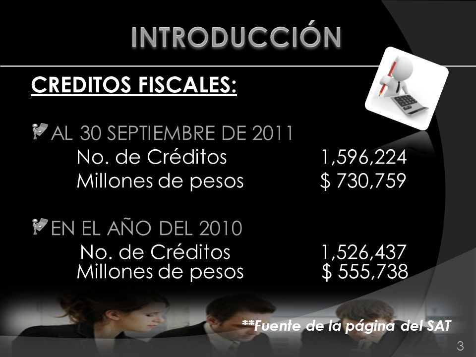 CREDITOS FISCALES: AL 30 SEPTIEMBRE DE 2011 No. de Créditos 1,596,224 Millones de pesos $ 730,759 EN EL AÑO DEL 2010 No. de Créditos 1,526,437 Millone