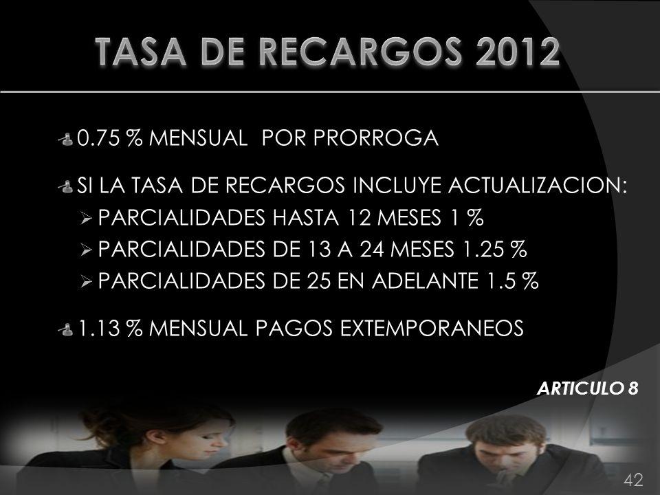 0.75 % MENSUAL POR PRORROGA SI LA TASA DE RECARGOS INCLUYE ACTUALIZACION: PARCIALIDADES HASTA 12 MESES 1 % PARCIALIDADES DE 13 A 24 MESES 1.25 % PARCI