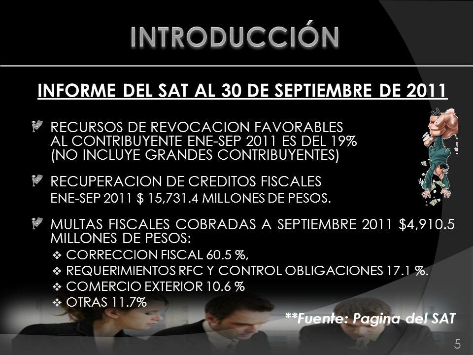 INFORME DEL SAT AL 30 DE SEPTIEMBRE DE 2011 RECURSOS DE REVOCACION FAVORABLES AL CONTRIBUYENTE ENE-SEP 2011 ES DEL 19% (NO INCLUYE GRANDES CONTRIBUYEN
