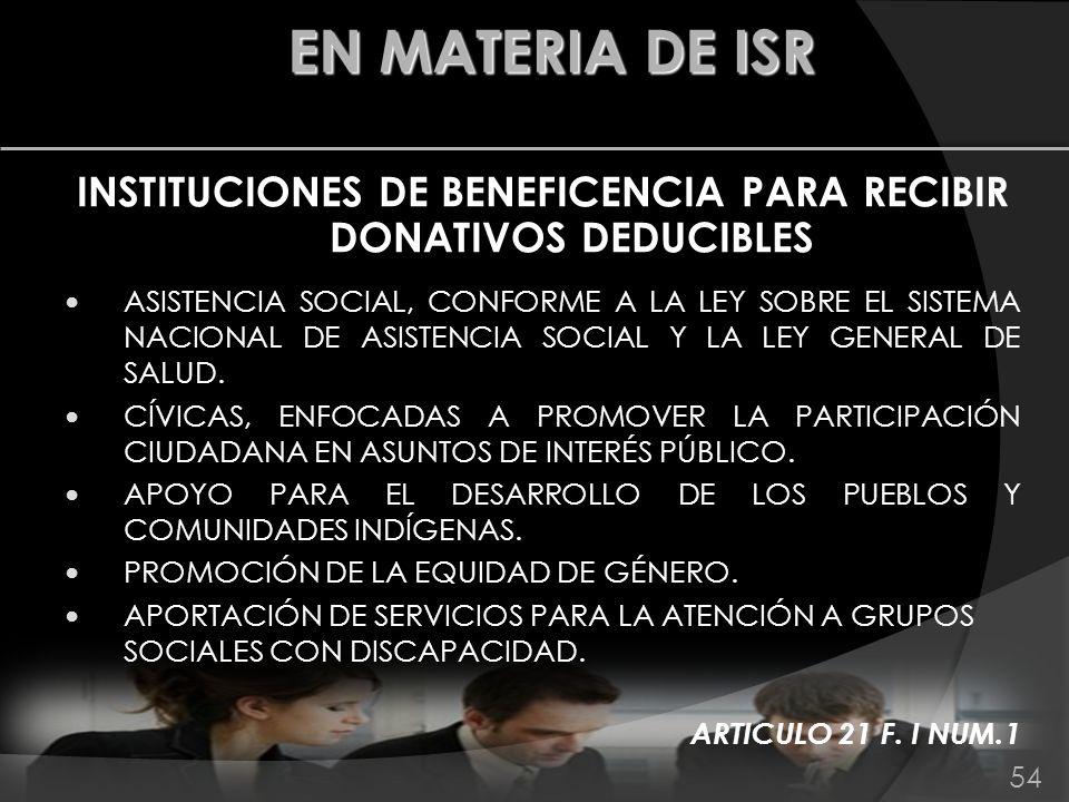 INSTITUCIONES DE BENEFICENCIA PARA RECIBIR DONATIVOS DEDUCIBLES ASISTENCIA SOCIAL, CONFORME A LA LEY SOBRE EL SISTEMA NACIONAL DE ASISTENCIA SOCIAL Y