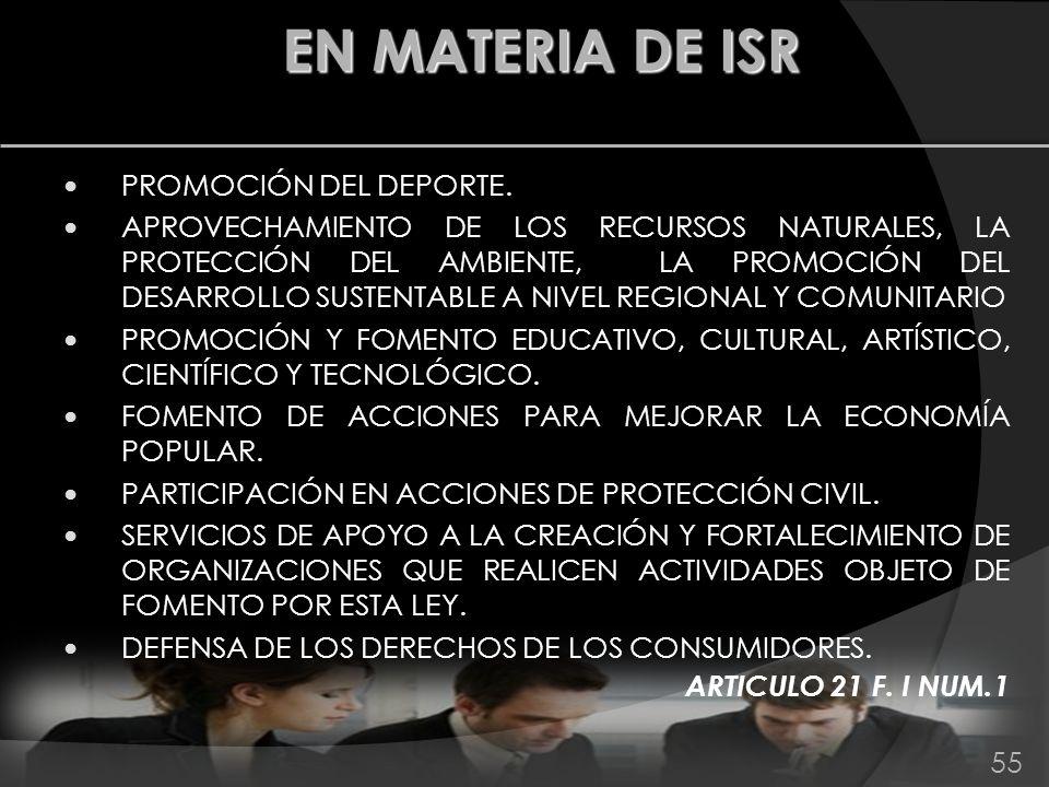 PROMOCIÓN DEL DEPORTE. APROVECHAMIENTO DE LOS RECURSOS NATURALES, LA PROTECCIÓN DEL AMBIENTE, LA PROMOCIÓN DEL DESARROLLO SUSTENTABLE A NIVEL REGIONAL