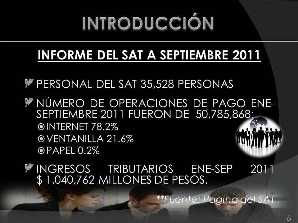 INFORME DEL SAT A SEPTIEMBRE 2011 PERSONAL DEL SAT 35,528 PERSONAS NÚMERO DE OPERACIONES DE PAGO ENE- SEPTIEMBRE 2011 FUERON DE 50,785,868: INTERNET 7