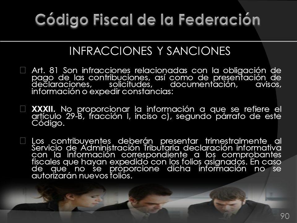 INFRACCIONES Y SANCIONES Art. 81 Son infracciones relacionadas con la obligación de pago de las contribuciones, así como de presentación de declaracio