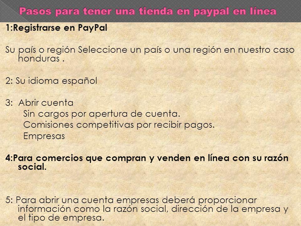 1:Registrarse en PayPal Su país o región Seleccione un país o una región en nuestro caso honduras.