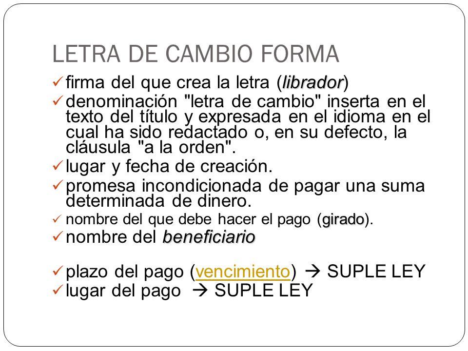 LETRA DE CAMBIO FORMA librador firma del que crea la letra (librador) denominación