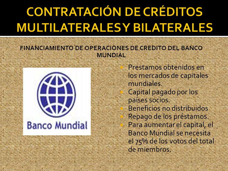 FINANCIAMIENTO DE OPERACIONES DE CREDITO DEL BANCO MUNDIAL Prestamos obtenidos en los mercados de capitales mundiales. Capital pagado por los países s