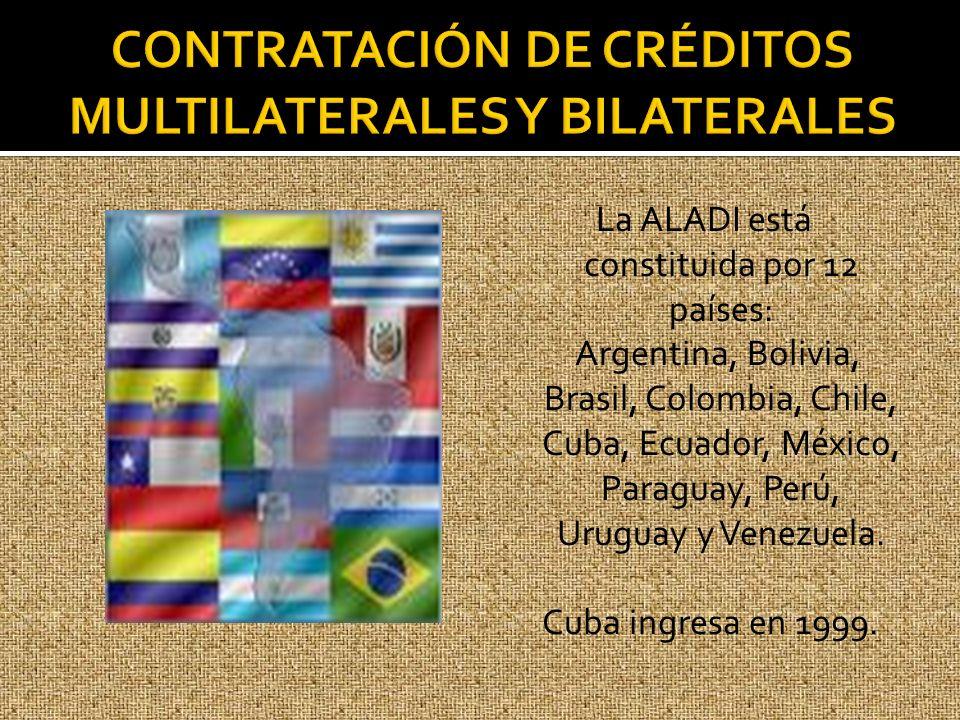 La ALADI está constituida por 12 países: Argentina, Bolivia, Brasil, Colombia, Chile, Cuba, Ecuador, México, Paraguay, Perú, Uruguay y Venezuela. Cuba