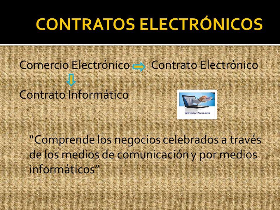 Comercio Electrónico Contrato Electrónico Contrato Informático Comprende los negocios celebrados a través de los medios de comunicación y por medios i