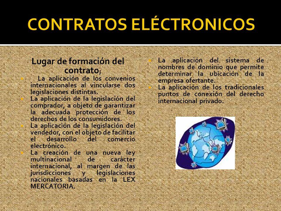 Lugar de formación del contrato ; La aplicación de los convenios internacionales al vincularse dos legislaciones distintas. La aplicación de la legisl