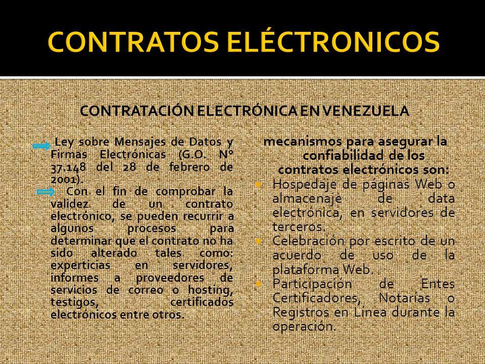 CONTRATACIÓN ELECTRÓNICA EN VENEZUELA Ley sobre Mensajes de Datos y Firmas Electrónicas (G.O. N° 37.148 del 28 de febrero de 2001). Con el fin de comp