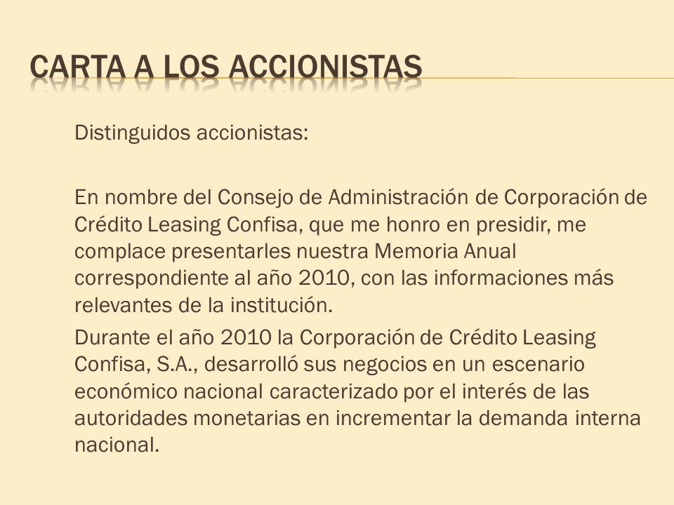 Distinguidos accionistas: En nombre del Consejo de Administración de Corporación de Crédito Leasing Confisa, que me honro en presidir, me complace pre