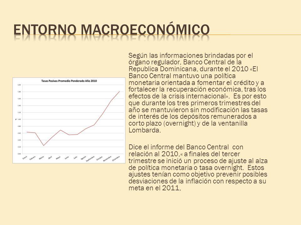 Según las informaciones brindadas por el órgano regulador, Banco Central de la Republica Dominicana, durante el 2010 «El Banco Central mantuvo una pol