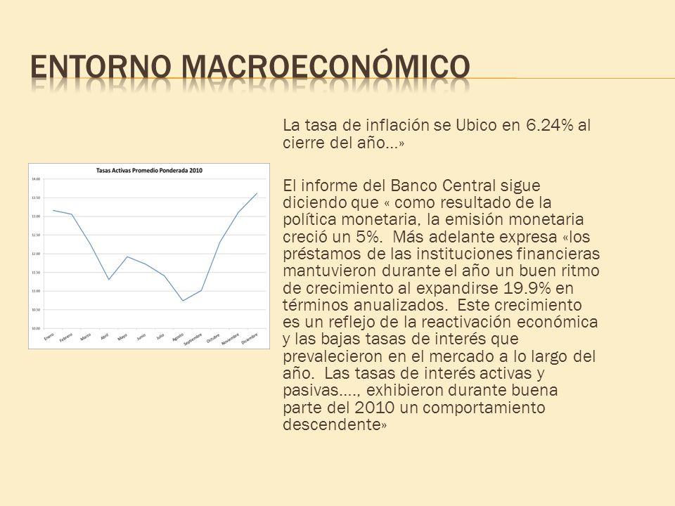 La tasa de inflación se Ubico en 6.24% al cierre del año…» El informe del Banco Central sigue diciendo que « como resultado de la política monetaria,