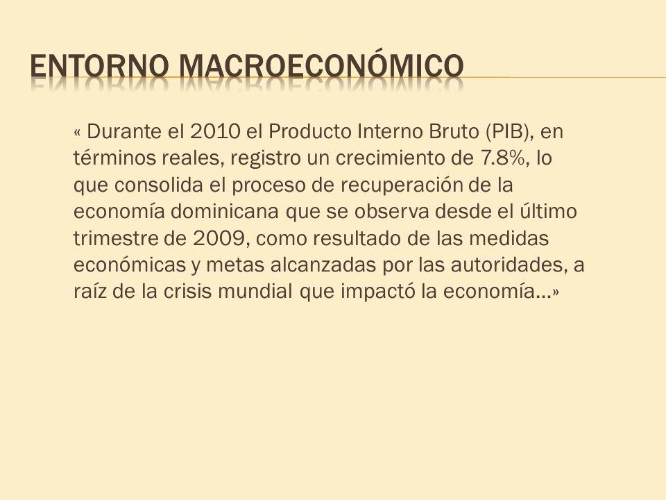 « Durante el 2010 el Producto Interno Bruto (PIB), en términos reales, registro un crecimiento de 7.8%, lo que consolida el proceso de recuperación de