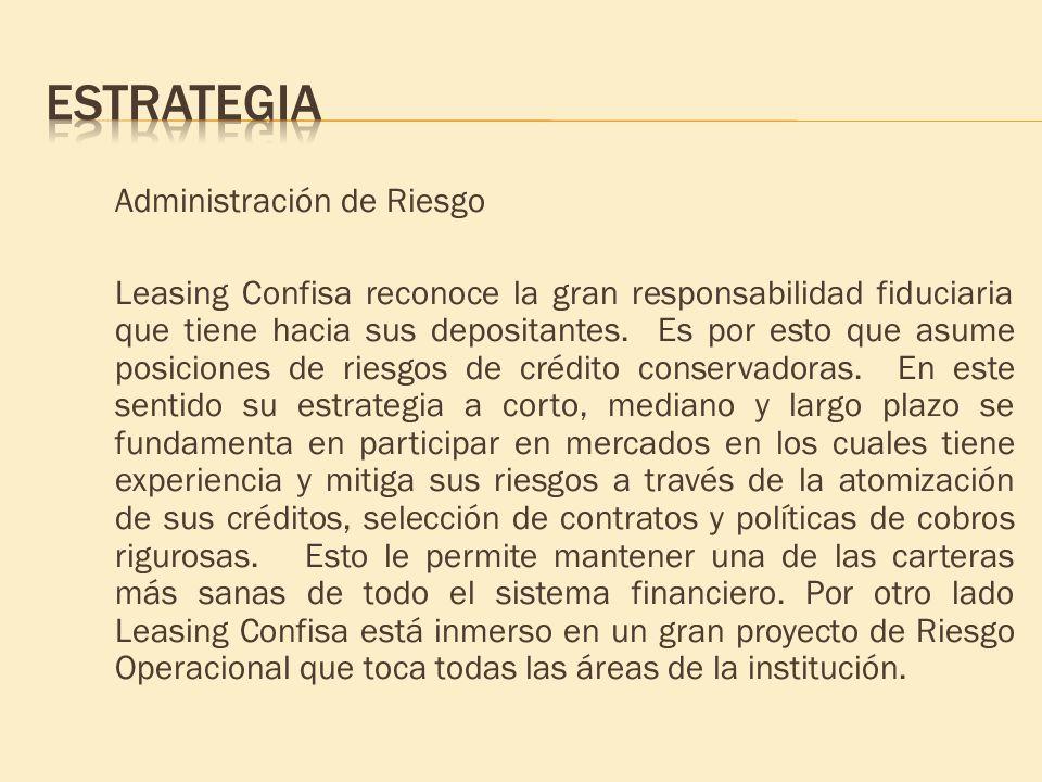 Administración de Riesgo Leasing Confisa reconoce la gran responsabilidad fiduciaria que tiene hacia sus depositantes. Es por esto que asume posicione