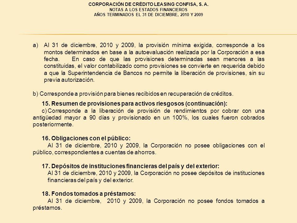 a)Al 31 de diciembre, 2010 y 2009, la provisión mínima exigida, corresponde a los montos determinados en base a la autoevaluación realizada por la Cor