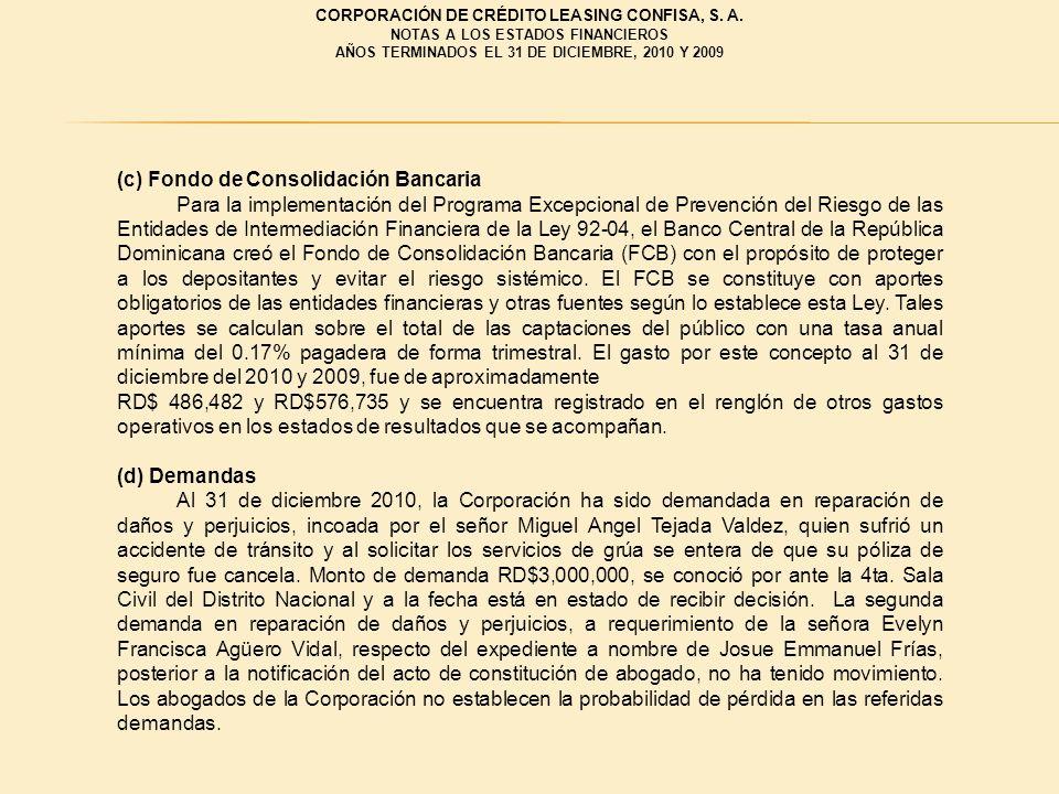 (c) Fondo de Consolidación Bancaria Para la implementación del Programa Excepcional de Prevención del Riesgo de las Entidades de Intermediación Financ