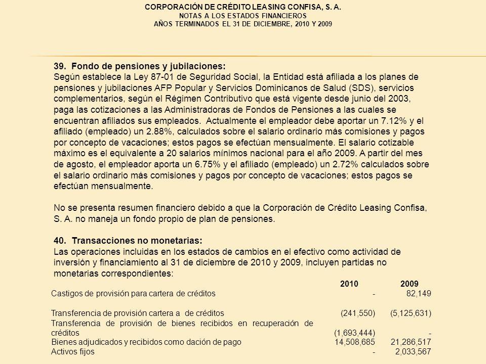 39. Fondo de pensiones y jubilaciones: Según establece la Ley 87 01 de Seguridad Social, la Entidad está afiliada a los planes de pensiones y jubilaci