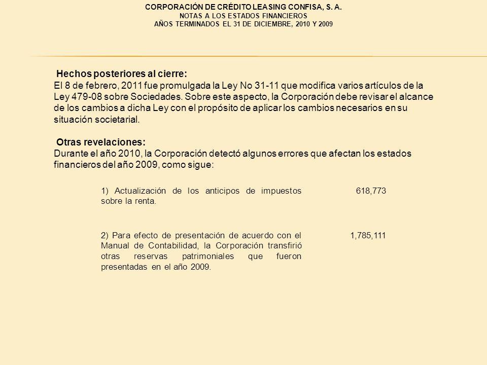 Hechos posteriores al cierre: El 8 de febrero, 2011 fue promulgada la Ley No 31-11 que modifica varios artículos de la Ley 479-08 sobre Sociedades. So