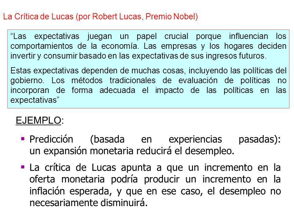 La Crítica de Lucas (por Robert Lucas, Premio Nobel) Las expectativas juegan un papel crucial porque influencian los comportamientos de la economía.
