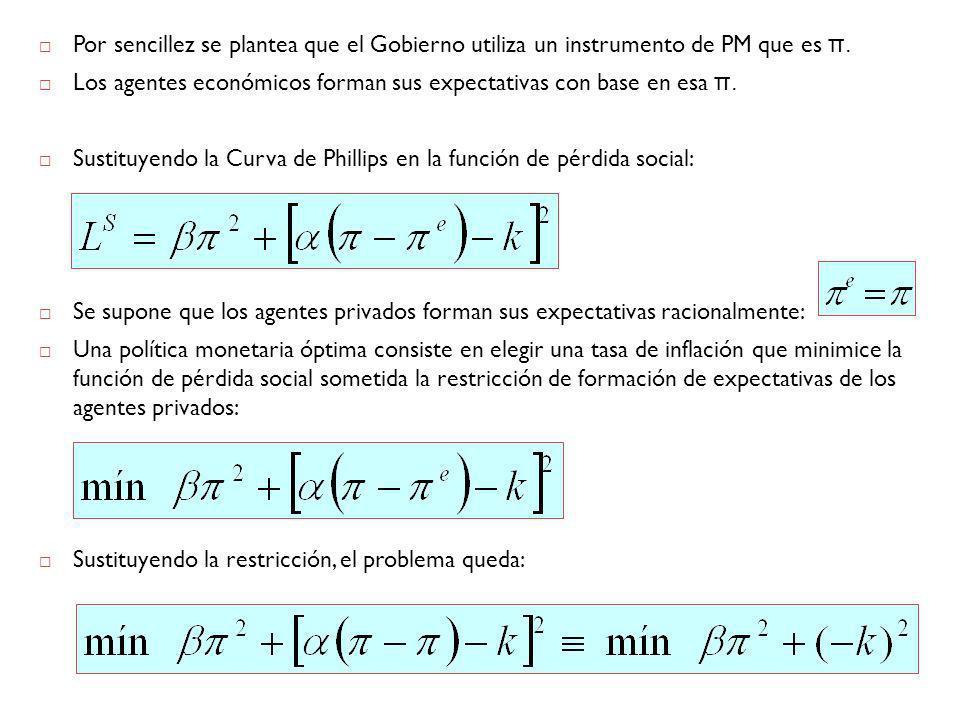 Por sencillez se plantea que el Gobierno utiliza un instrumento de PM que es π.