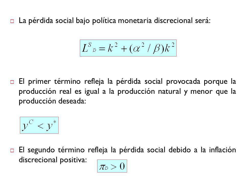 La pérdida social bajo política monetaria discrecional será: El primer término refleja la pérdida social provocada porque la producción real es igual a la producción natural y menor que la producción deseada: El segundo término refleja la pérdida social debido a la inflación discrecional positiva: