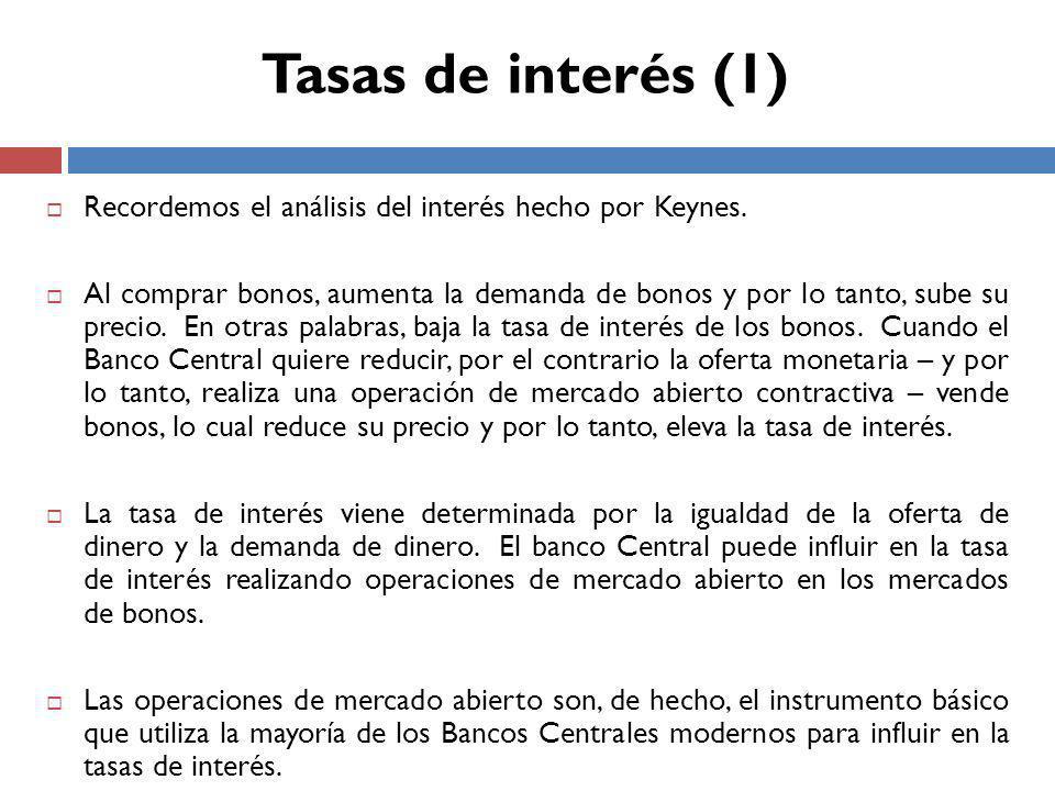 Recordemos el análisis del interés hecho por Keynes.