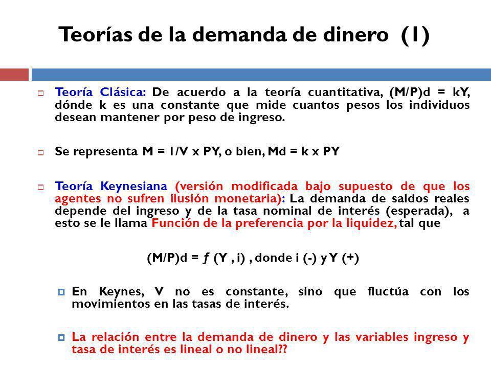 Teoría Clásica: De acuerdo a la teoría cuantitativa, (M/P)d = kY, dónde k es una constante que mide cuantos pesos los individuos desean mantener por peso de ingreso.