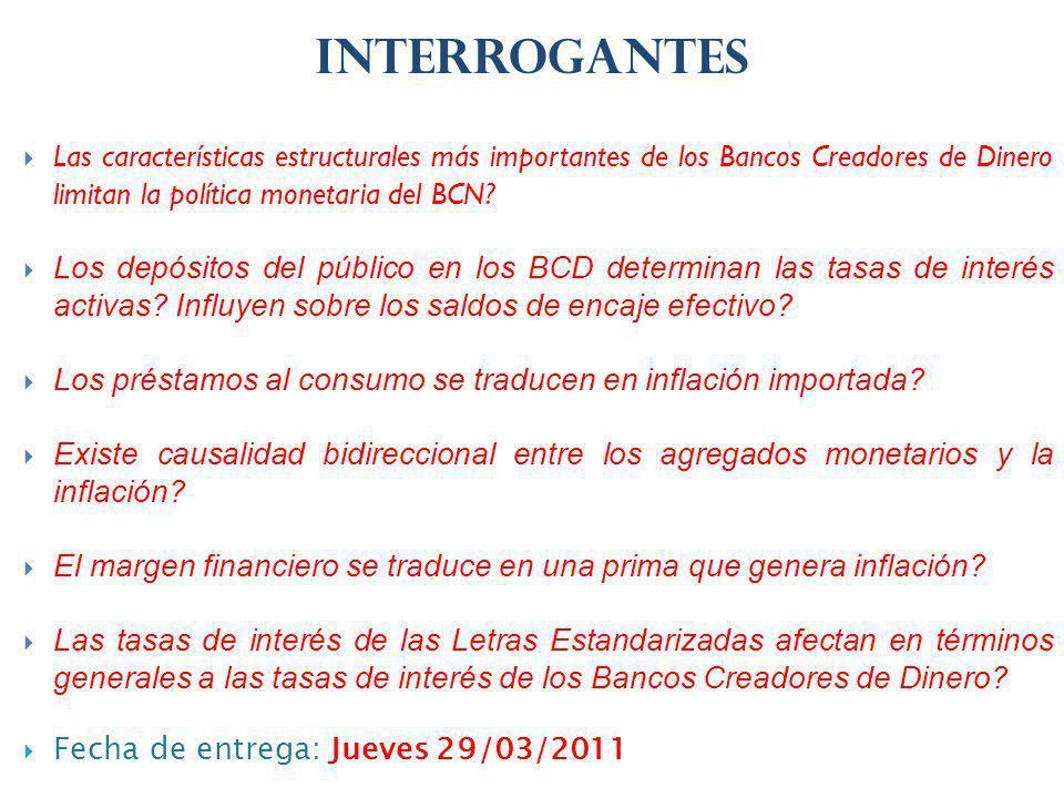 INTERROGANTES Las características estructurales más importantes de los Bancos Creadores de Dinero limitan la política monetaria del BCN.