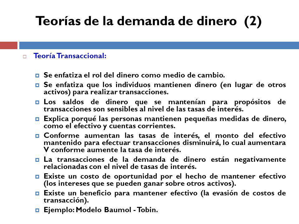 Teoría Transaccional: Se enfatiza el rol del dinero como medio de cambio.