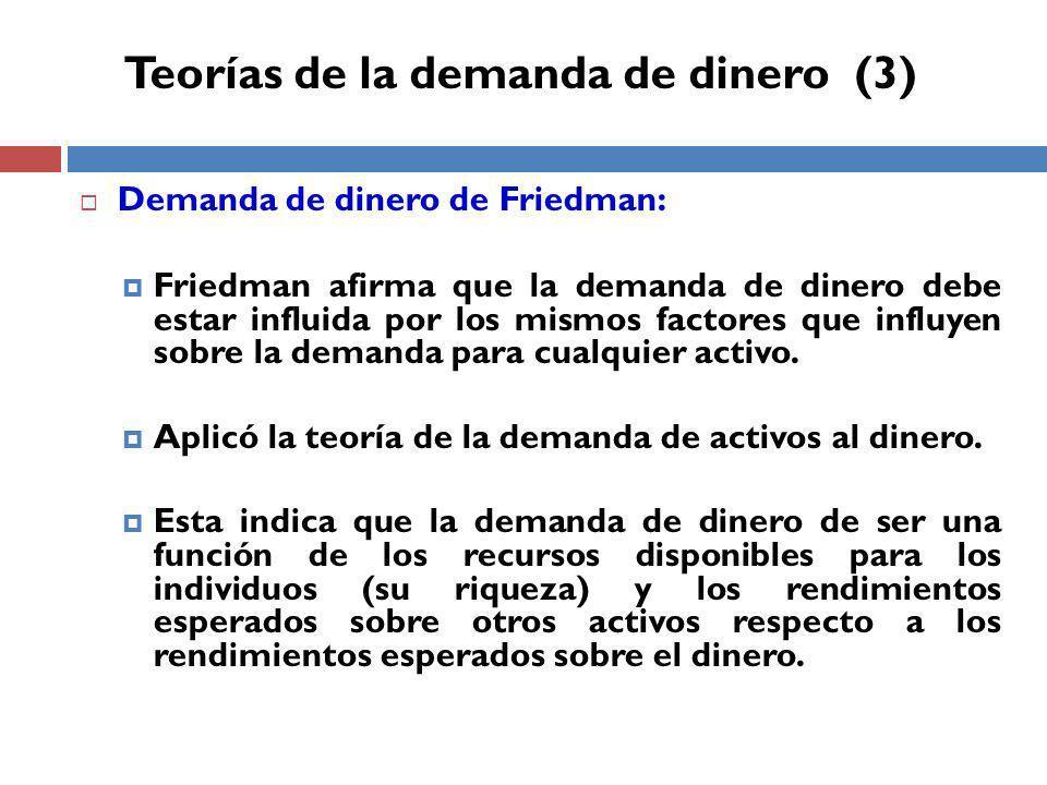 Demanda de dinero de Friedman: Friedman afirma que la demanda de dinero debe estar influida por los mismos factores que influyen sobre la demanda para cualquier activo.