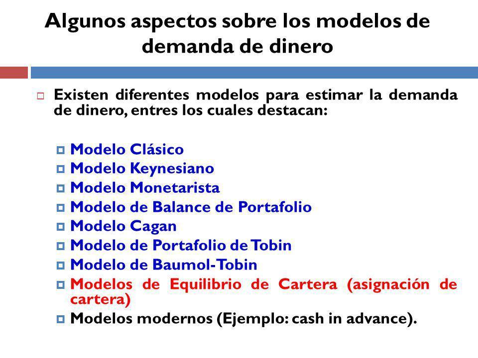 Existen diferentes modelos para estimar la demanda de dinero, entres los cuales destacan: Modelo Clásico Modelo Keynesiano Modelo Monetarista Modelo de Balance de Portafolio Modelo Cagan Modelo de Portafolio de Tobin Modelo de Baumol-Tobin Modelos de Equilibrio de Cartera (asignación de cartera) Modelos modernos (Ejemplo: cash in advance).
