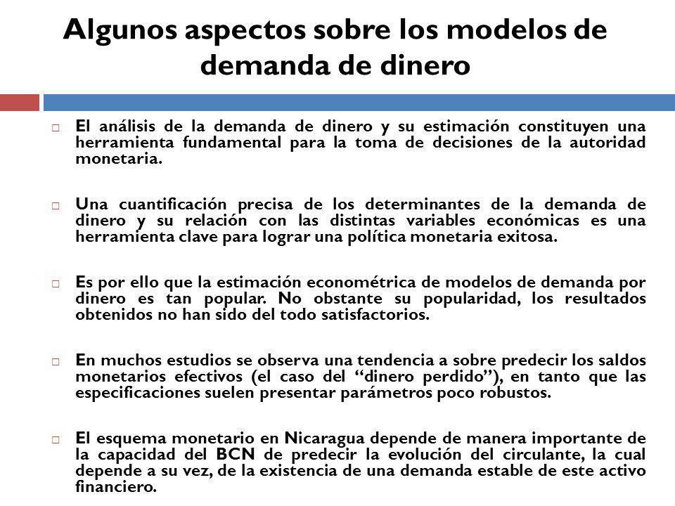 El análisis de la demanda de dinero y su estimación constituyen una herramienta fundamental para la toma de decisiones de la autoridad monetaria.