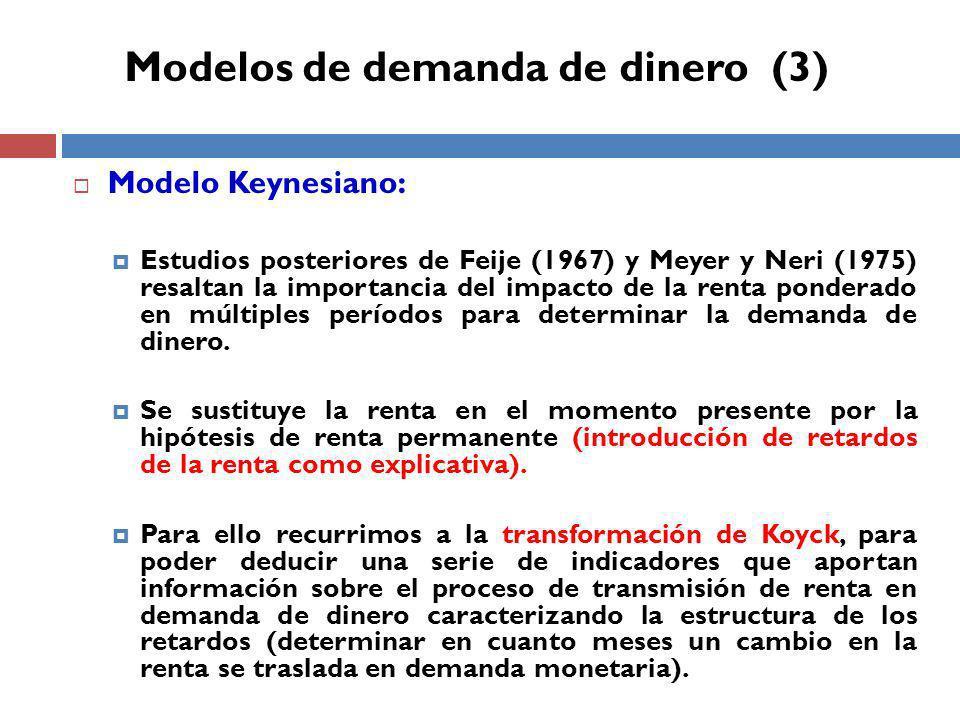 Modelo Keynesiano: Estudios posteriores de Feije (1967) y Meyer y Neri (1975) resaltan la importancia del impacto de la renta ponderado en múltiples períodos para determinar la demanda de dinero.