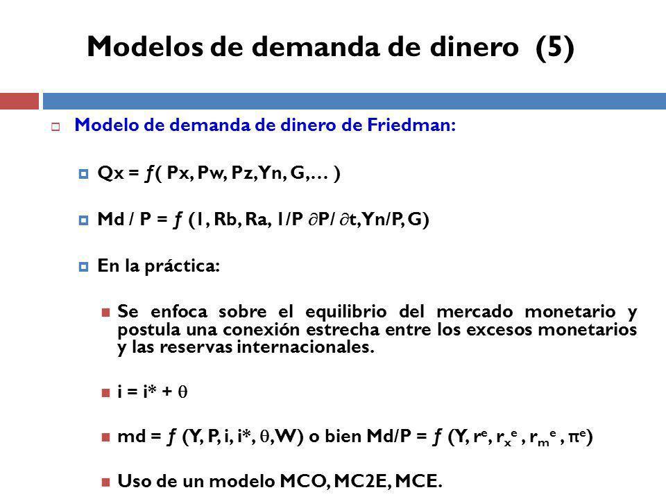 Modelo de demanda de dinero de Friedman: Qx = ƒ( Px, Pw, Pz, Yn, G,… ) Md / P = ƒ (1, Rb, Ra, 1/P P/ t, Yn/P, G) En la práctica: Se enfoca sobre el equilibrio del mercado monetario y postula una conexión estrecha entre los excesos monetarios y las reservas internacionales.