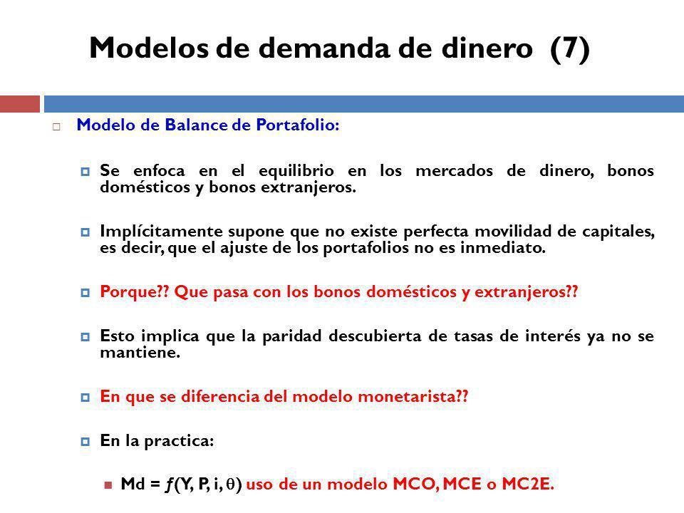 Modelo de Balance de Portafolio: Se enfoca en el equilibrio en los mercados de dinero, bonos domésticos y bonos extranjeros.