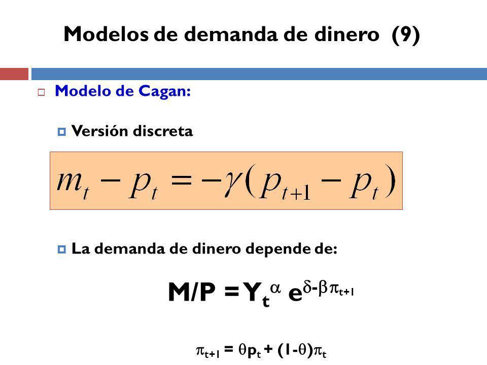 Modelo de Cagan: Versión discreta La demanda de dinero depende de: M/P = Y t e - t+1 t+1 = p t + (1- ) t Modelos de demanda de dinero (9)