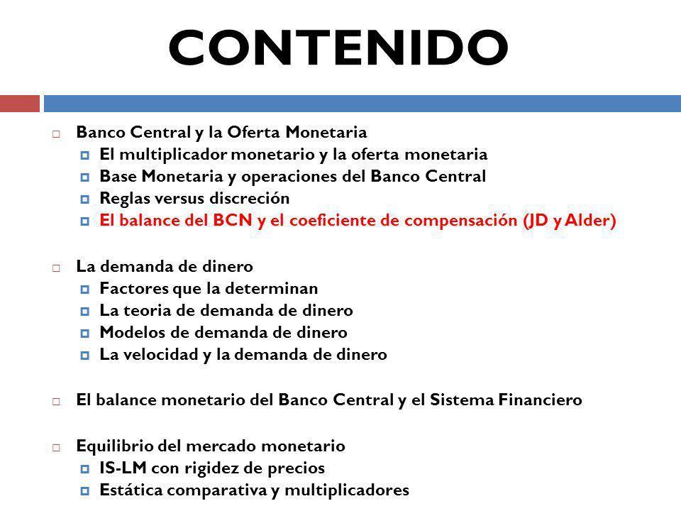 Banco Central y la Oferta Monetaria El multiplicador monetario y la oferta monetaria Base Monetaria y operaciones del Banco Central Reglas versus discreción El balance del BCN y el coeficiente de compensación (JD y Alder) La demanda de dinero Factores que la determinan La teoria de demanda de dinero Modelos de demanda de dinero La velocidad y la demanda de dinero El balance monetario del Banco Central y el Sistema Financiero Equilibrio del mercado monetario IS-LM con rigidez de precios Estática comparativa y multiplicadores CONTENIDO