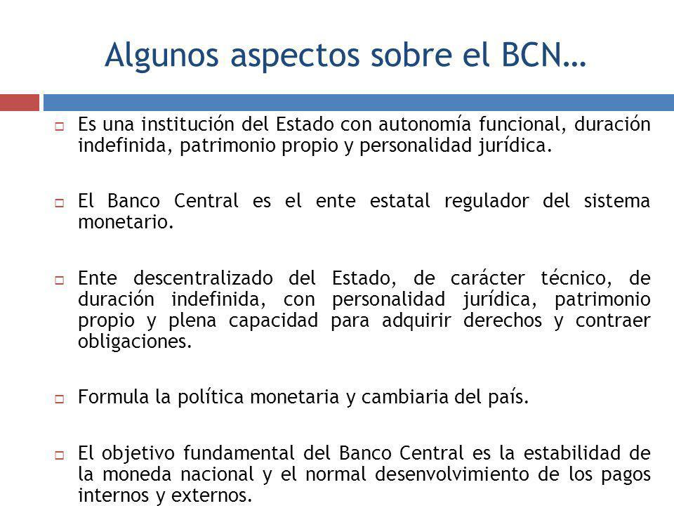 Algunos aspectos sobre el BCN… Es una institución del Estado con autonomía funcional, duración indefinida, patrimonio propio y personalidad jurídica.
