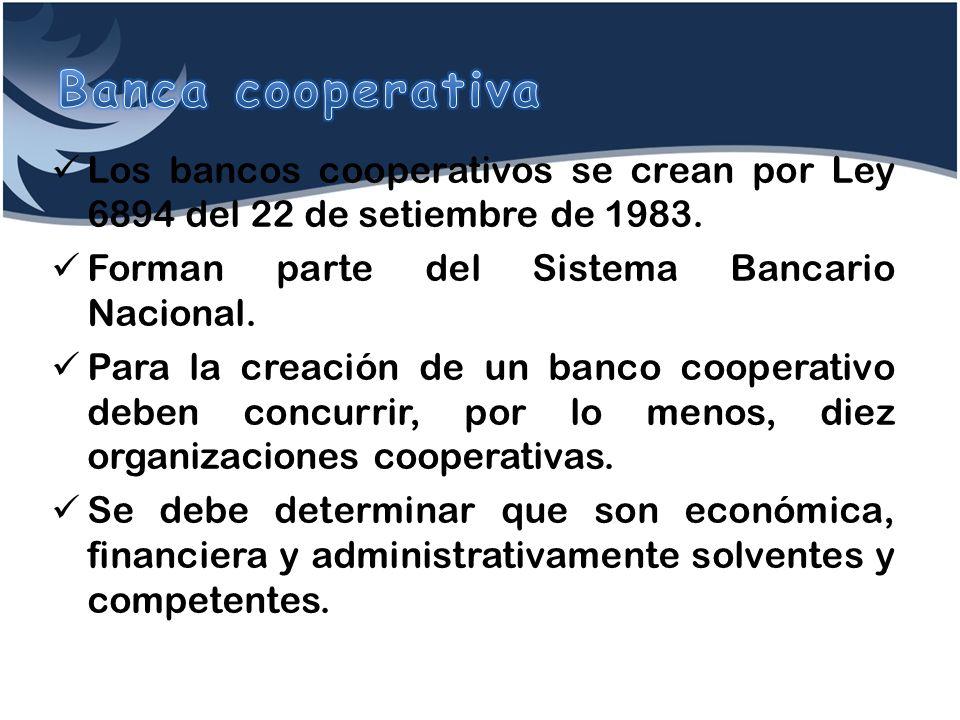 Los bancos cooperativos se crean por Ley 6894 del 22 de setiembre de 1983. Forman parte del Sistema Bancario Nacional. Para la creación de un banco co