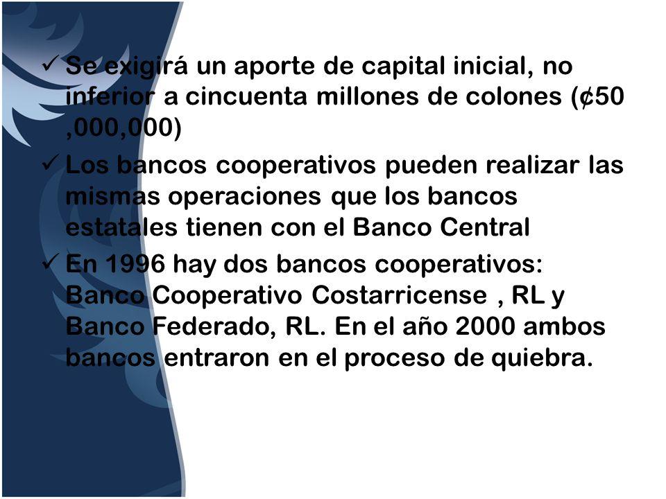 Se exigirá un aporte de capital inicial, no inferior a cincuenta millones de colones (¢50,000,000) Los bancos cooperativos pueden realizar las mismas