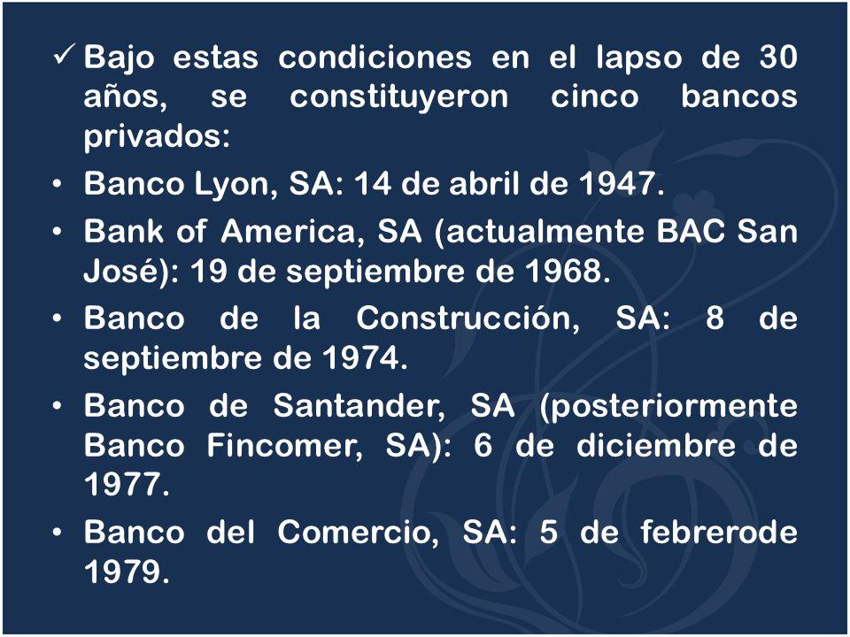 Bajo estas condiciones en el lapso de 30 años, se constituyeron cinco bancos privados: Banco Lyon, SA: 14 de abril de 1947. Bank of America, SA (actua