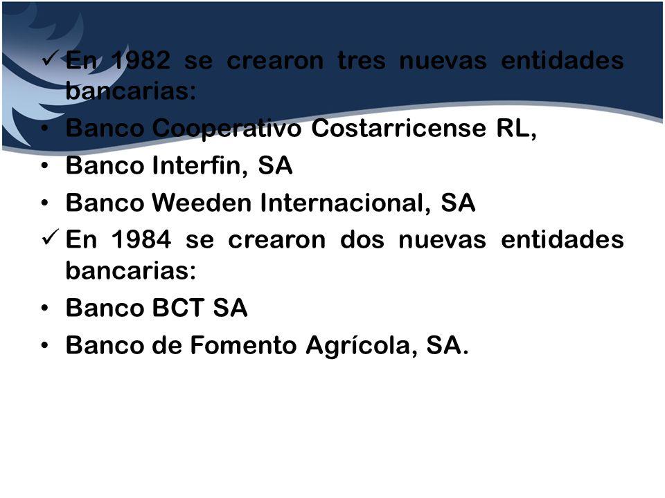 En 1982 se crearon tres nuevas entidades bancarias: Banco Cooperativo Costarricense RL, Banco Interfin, SA Banco Weeden Internacional, SA En 1984 se c