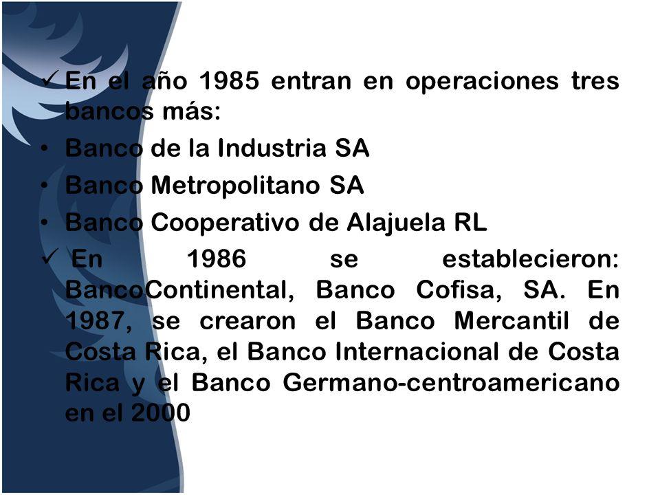 En el año 1985 entran en operaciones tres bancos más: Banco de la Industria SA Banco Metropolitano SA Banco Cooperativo de Alajuela RL En 1986 se esta