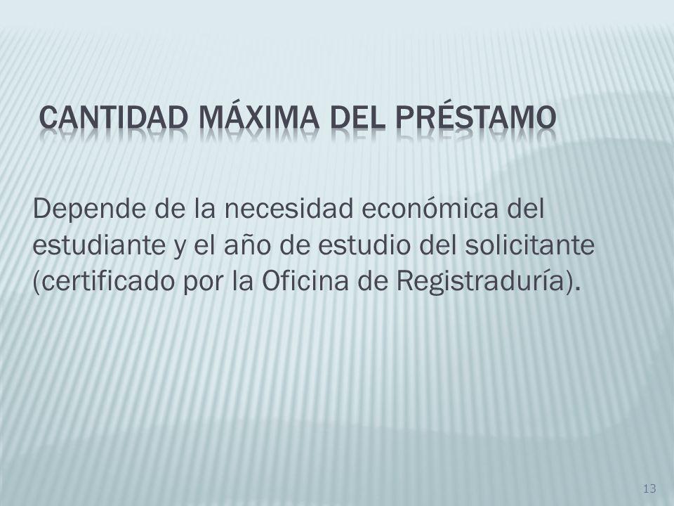 13 Depende de la necesidad económica del estudiante y el año de estudio del solicitante (certificado por la Oficina de Registraduría).
